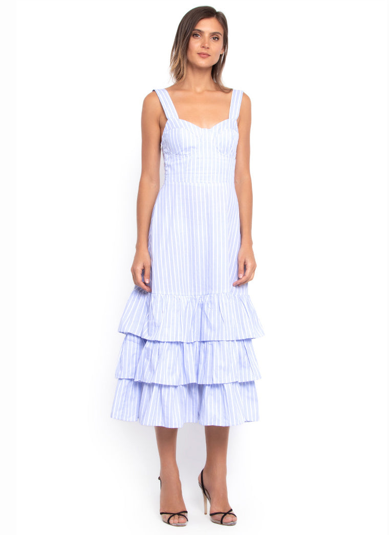 Hamptons Tiered Summer Dress (Soft Sky Blue)