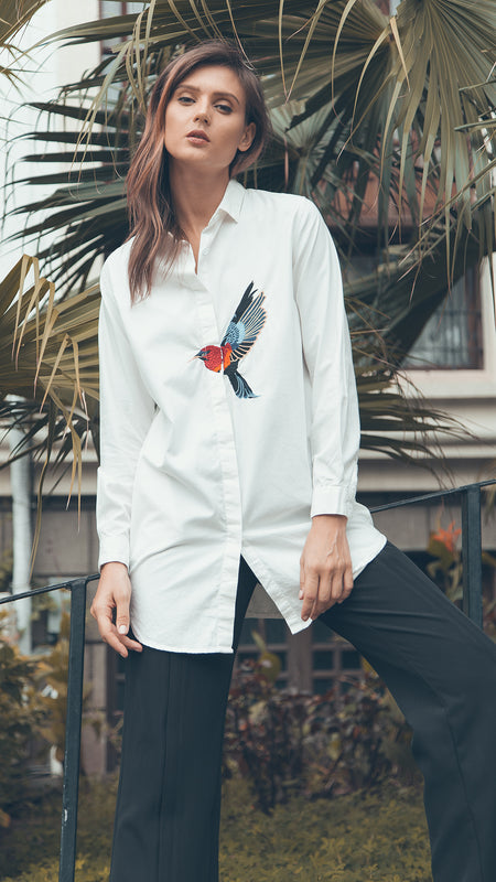 Embroidery Simple Shirt outdoor