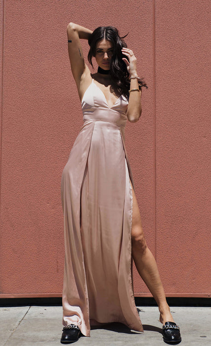 Satin Maxi Slitted Slip Dress outdoor