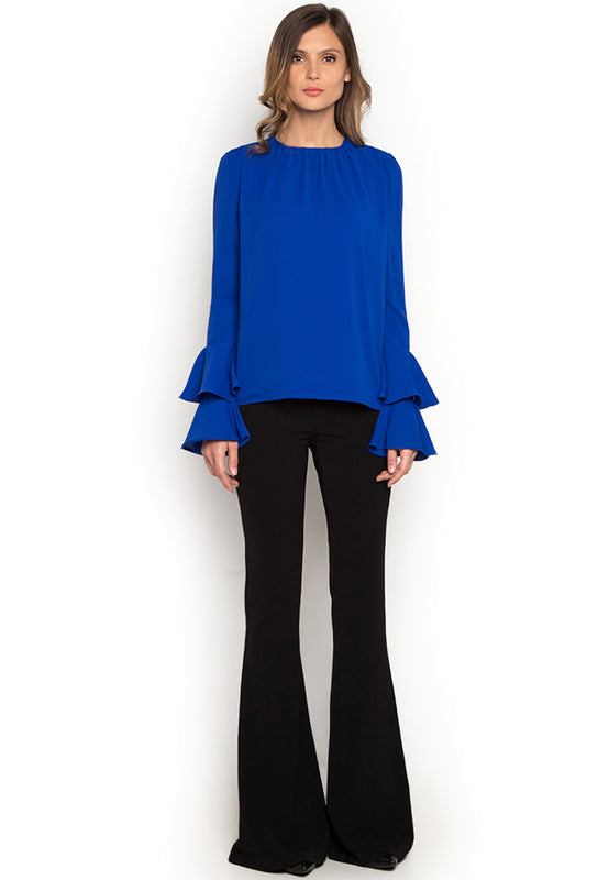 Victoria Blue Ruffled Sleeve Top