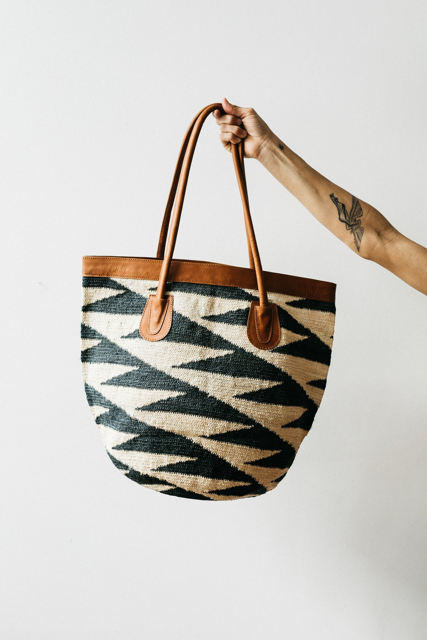 Large Tote with Diagonal Triangle Design