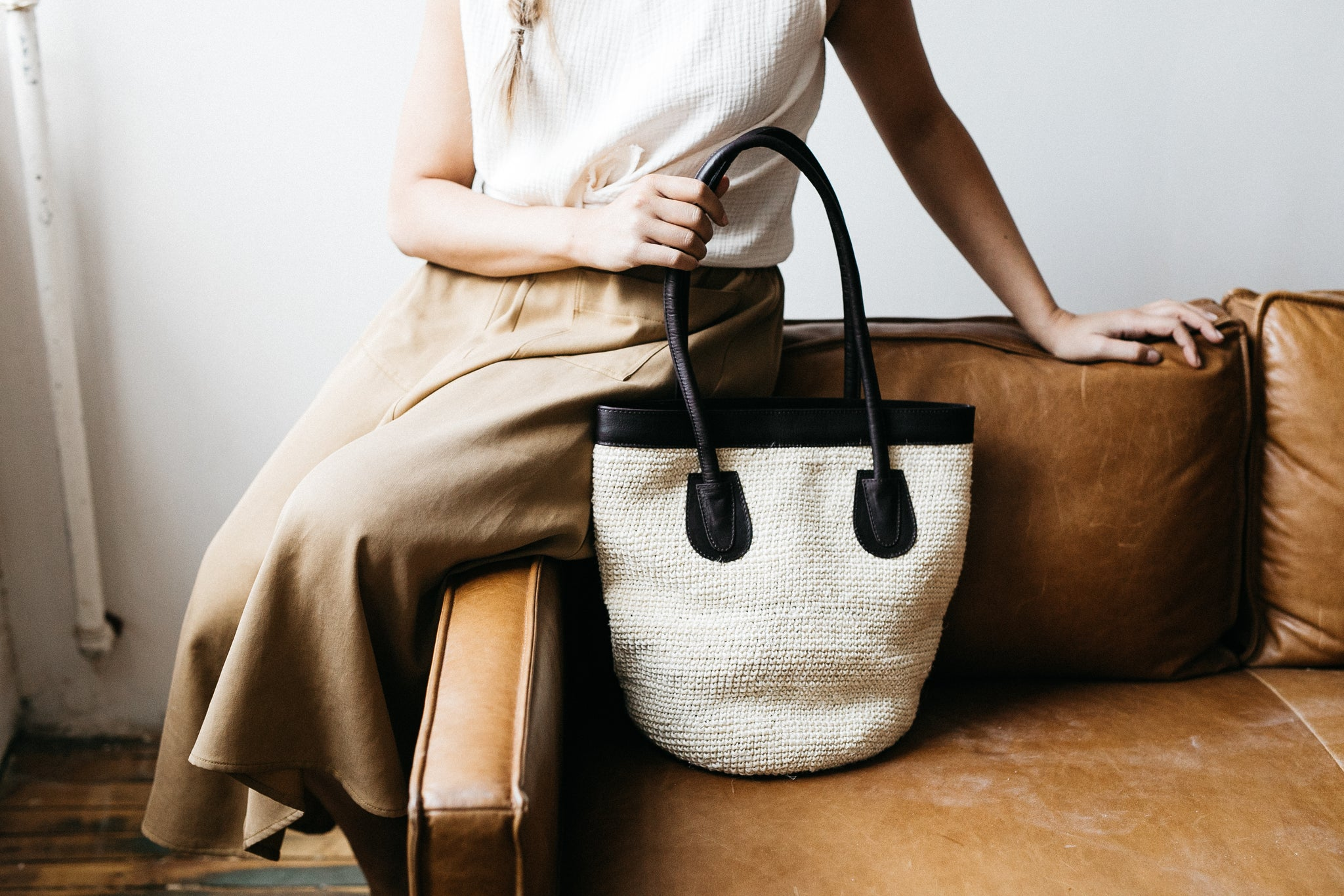 Medium Tote with Natural Agave and Cafe Leather