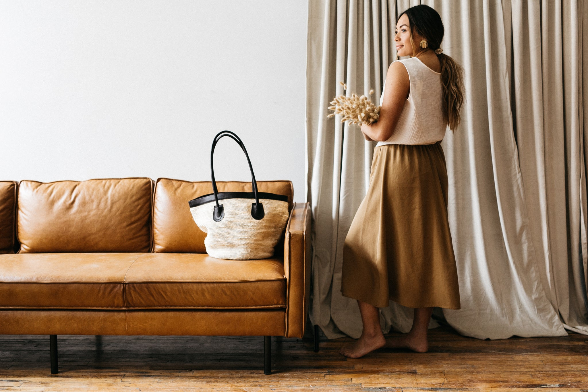 Large Tote with Natural Agave and Cafe Leather