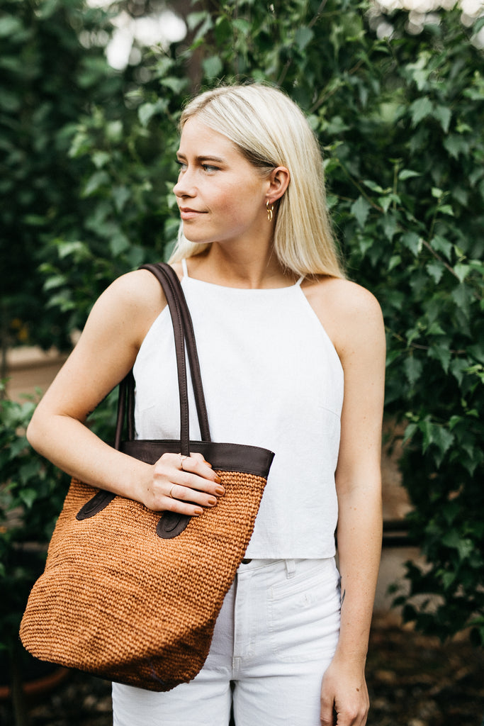 Medium Tote with Rust Agave and Cafe Leather