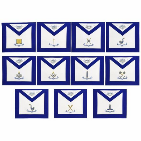 Masonic Blue Lodge Officers Apron Set of 11 Machine Embroidery Aprons