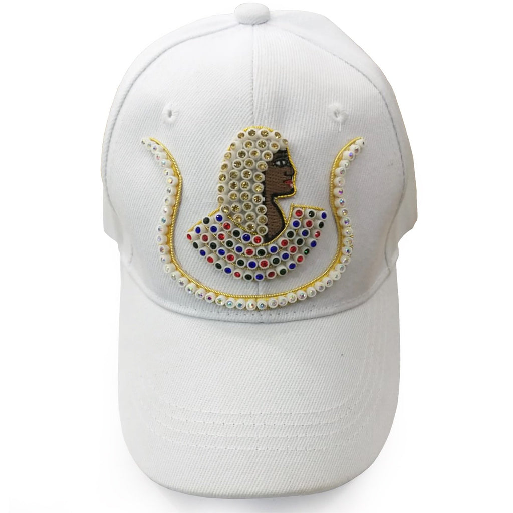 Daughters of Isis Jewel Embroidered White Baseball Cap - Bricks Masons