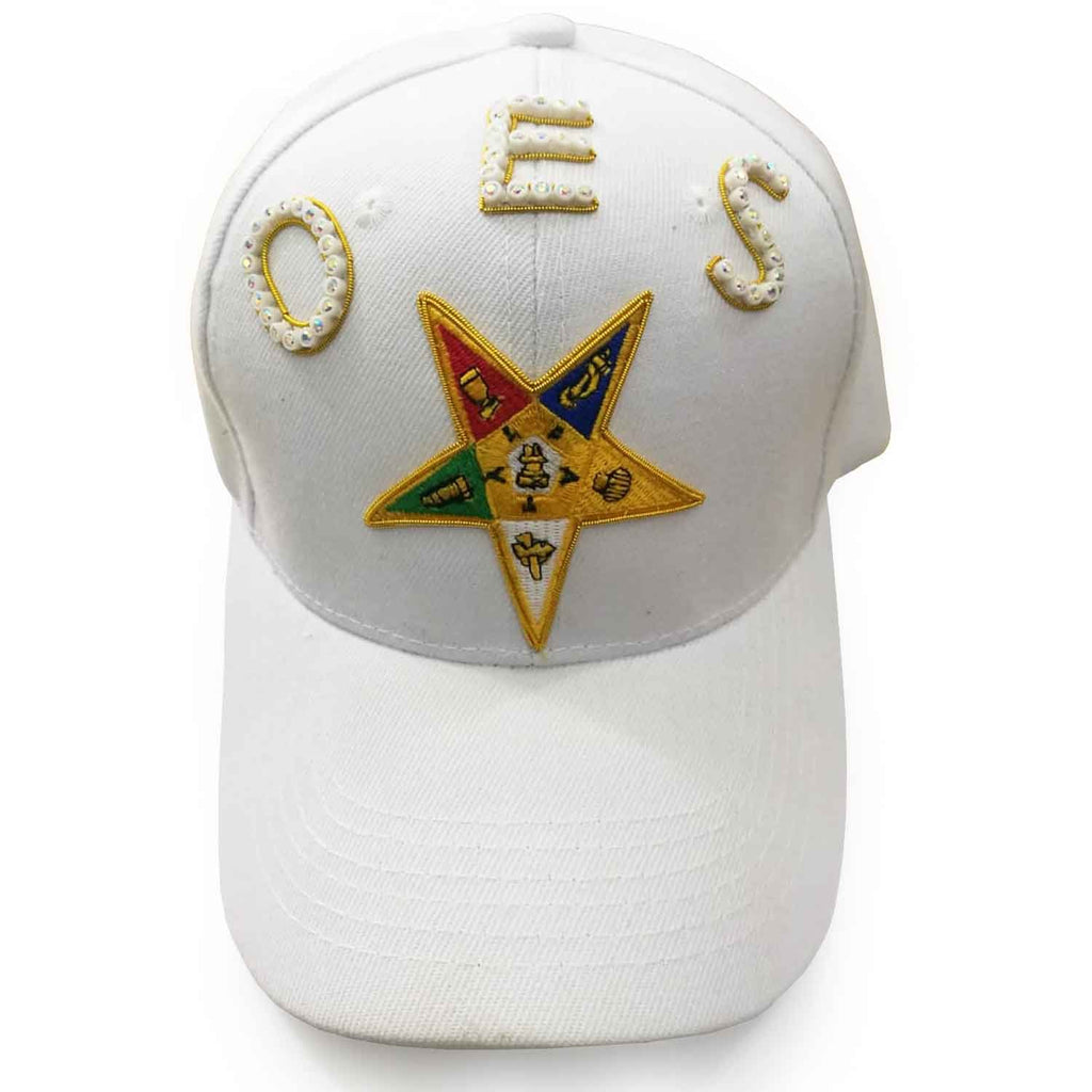 OES Order of the Eastern Star White Baseball Cap - Bricks Masons