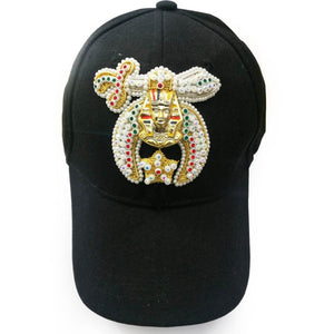 Shriner Jewel Embroidered Black Baseball Cap - Bricks Masons