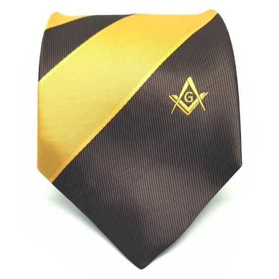 Masonic Masons Brown and Yellow Tie with Square Compass & G - Bricks Masons