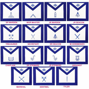 Masonic Blue Lodge Officers Aprons- Set of 15 Aprons - Bricks Masons
