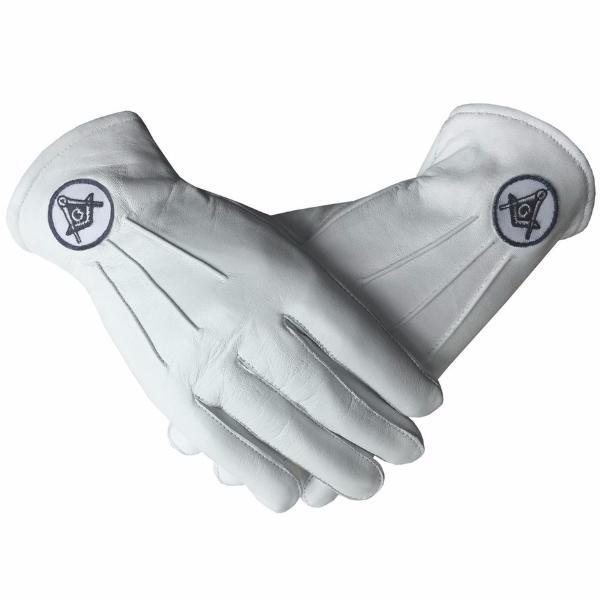 Soft Leather Masonic Gloves with Embroidery - Bricks Masons