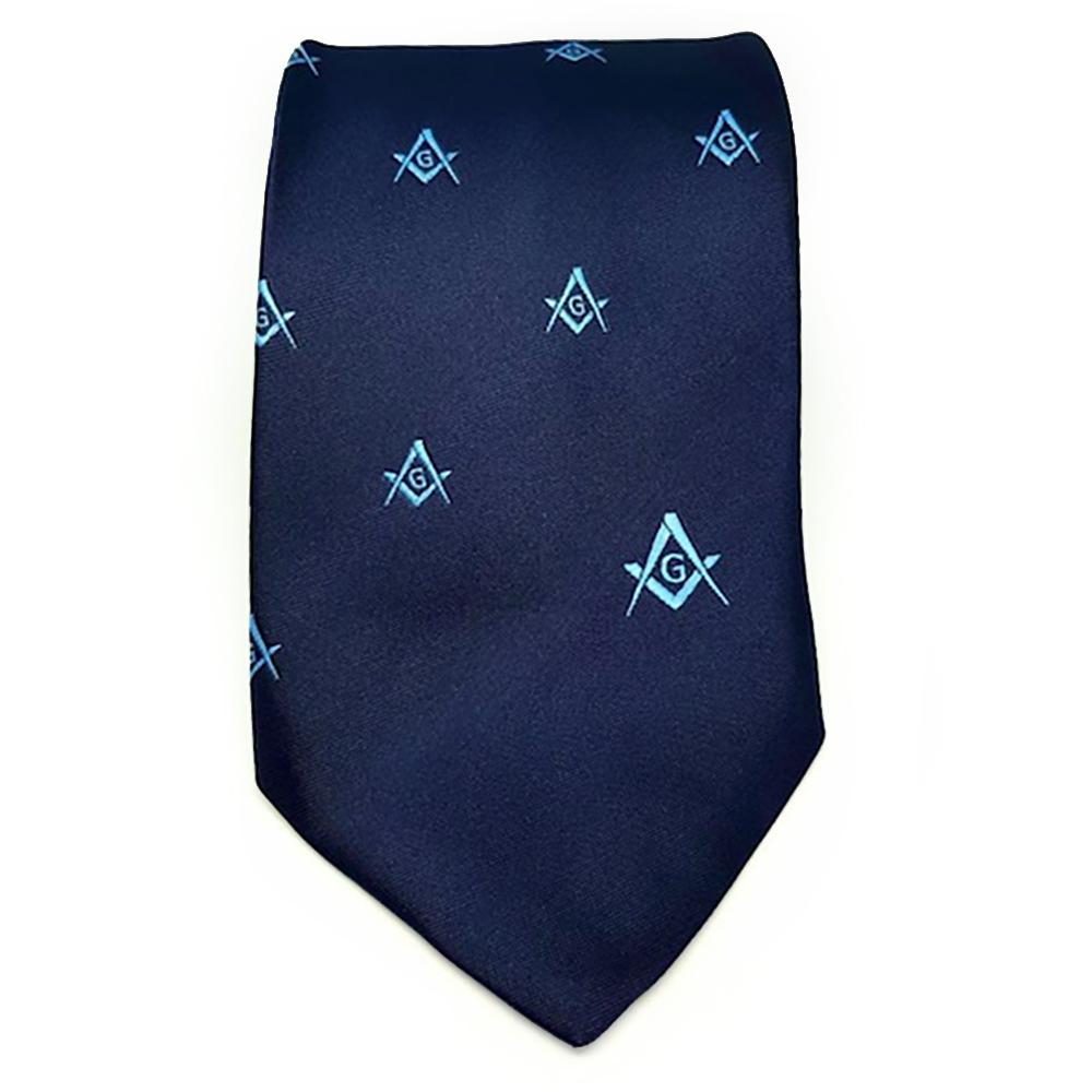 Masonic Regalia Craft Masons Silk Tie Embroidered Square Compass & G Blue - Bricks Masons