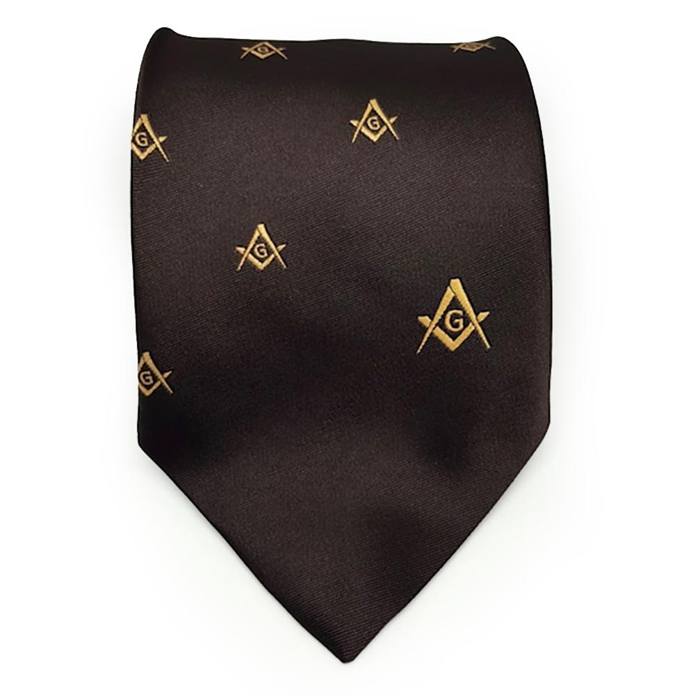 Masonic Regalia Craft Masons Silk Tie Embroidered Square Compass & G Brown - Bricks Masons