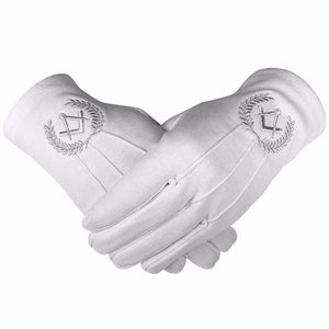 Masonic Cotton Gloves with Machine Embroidery Square Compass Silver - Bricks Masons