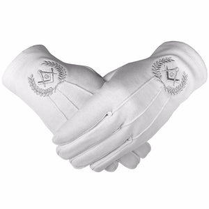 Masonic Cotton Gloves with Machine Embroidery Square Compass and G Silver - Bricks Masons