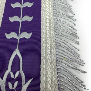 Masonic Blue Lodge Past Master Silver Machine Embroidery Freemason Purple Apron - Bricks Masons