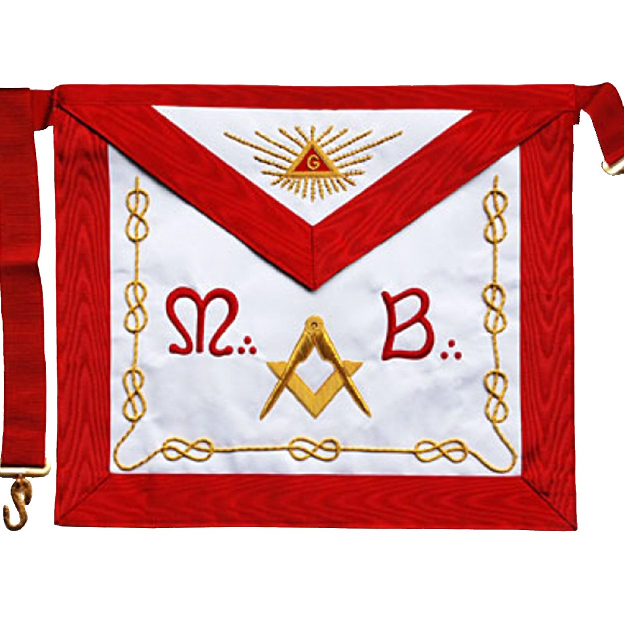 "Masonic Scottish Rite AASR Master Apron ""M+B"" Hand Embroidered Apron - Bricks Masons"