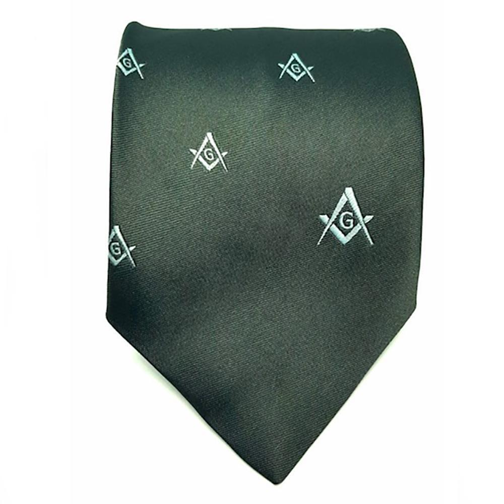Masonic Regalia Craft Masons Silk Tie Embroidered Square Compass & G Green - Bricks Masons