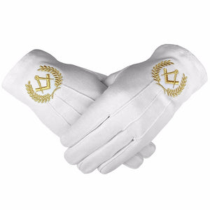 Masonic Cotton Gloves with Machine Embroidery Square Compass Gold - Bricks Masons
