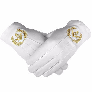 Masonic Cotton Gloves with Machine Embroidery Square Compass and G Gold - Bricks Masons