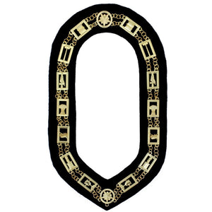 OES - Regalia Chain Collar - Gold/Silver on Black + Free Case - Bricks Masons