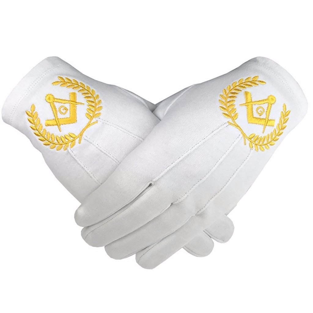 Masonic Regalia 100% Cotton Gloves Square Compass and G Yellow - Bricks Masons