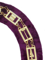 OES Regalia Chain Collar - Gold/Silver on Purple + Free Case - Bricks Masons