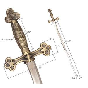 Masonic Ceremonial Snake Flaming Sword Square Compass G + Free Case - Bricks Masons