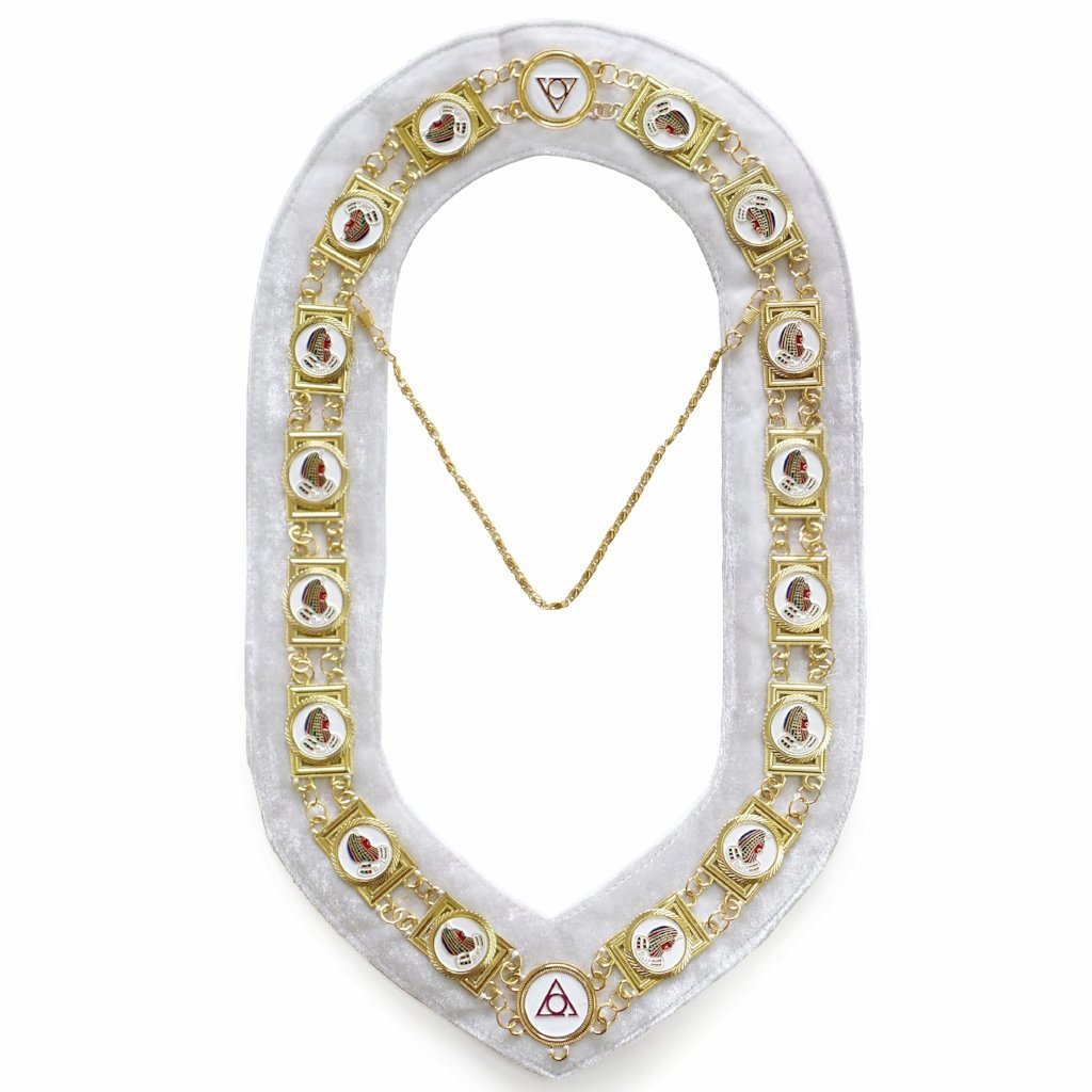 Daughter Of Isis - Masonic Chain Collar - Gold/Silver on White + Free Case - Bricks Masons