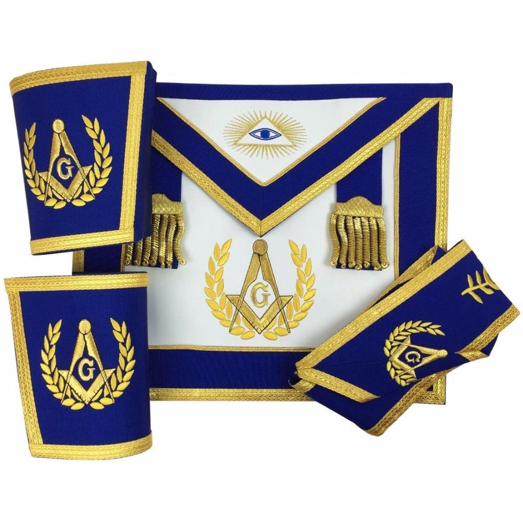 Blue Lodge Master Mason Apron Set Apron,Collar gauntlets (Cuffs) - Bricks Masons