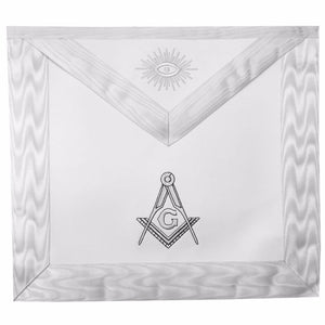 Masonic Blue Lodge White Machine Embroidery Apron with square compass with G - Bricks Masons