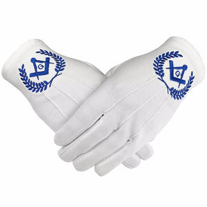 Masonic Regalia 100% Cotton Gloves Square Compass and G - Blue - Bricks Masons
