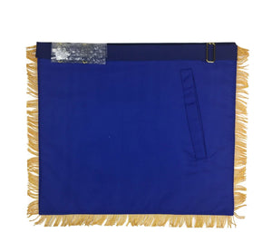 Masonic Blue Lodge Past Master Gold Handmade Embroidery Apron Blue Velvet - Bricks Masons