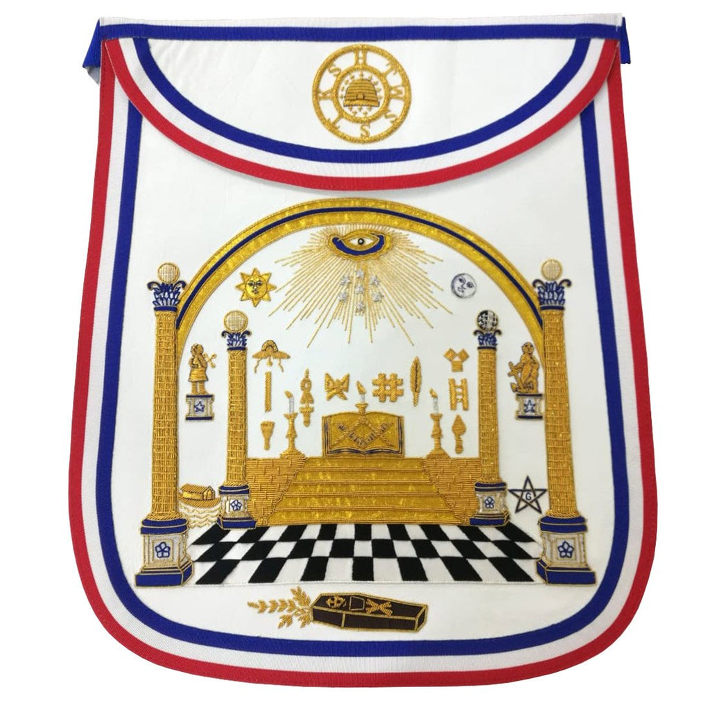 Bro. George Washington Masonic Apron Hand Embroidered Masterpiece - Bricks Masons