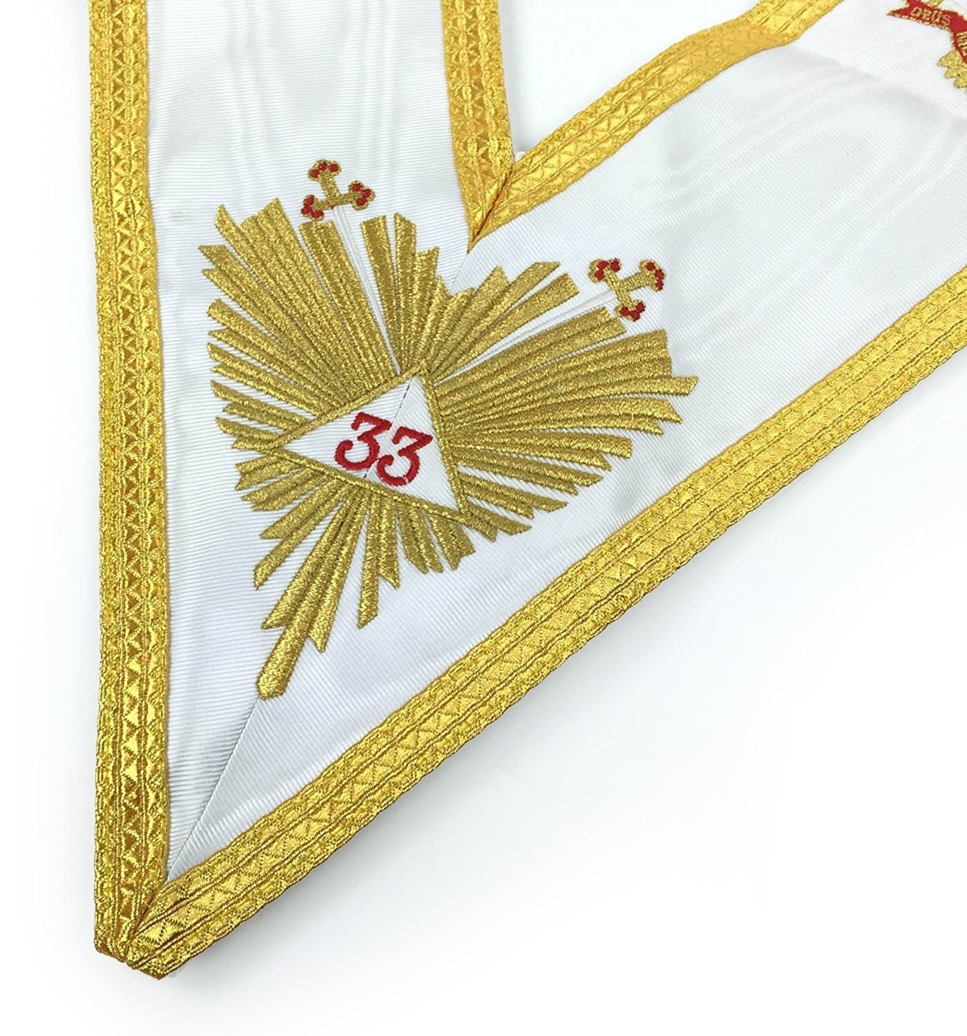 Masonic Rose Croix 33rd Degree Silk Apron, Gauntlets and Collar Set - All Countries Flags - Bricks Masons