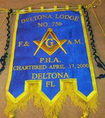 Gold Wire Handmade Embroidered Masonic Banners - Bricks Masons