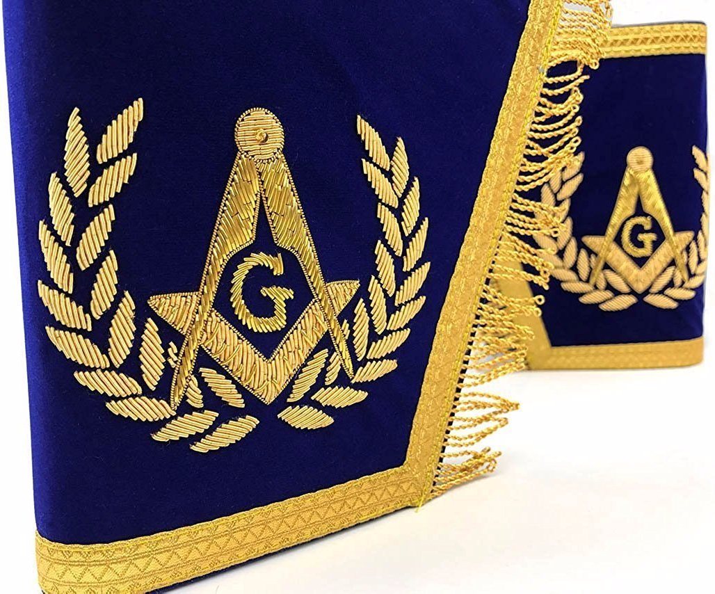 Masonic Gauntlets Cuffs - Embroidered With Fringe - Blue - Bricks Masons