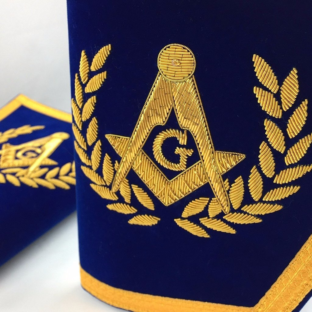 Masonic Gauntlets Cuffs - Embroidered - Blue - Bricks Masons