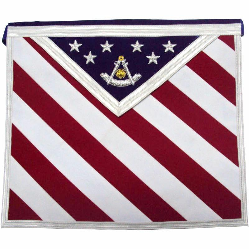 Hand Embroidered U.S Past Master Masonic Apron - Bricks Masons