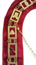 Blue Lodge Working Tools - Masonic Chain Collar - Gold/Silver on Red + Free Case - Bricks Masons
