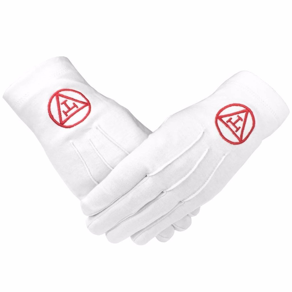 Masonic Royal Arch 100% Cotton Gloves with Machine Embroidery - Bricks Masons