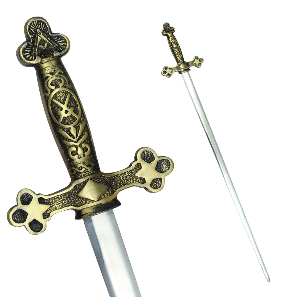 Masonic Ceremonial Sword Square Compass Cross Swords + Free Case - Bricks Masons