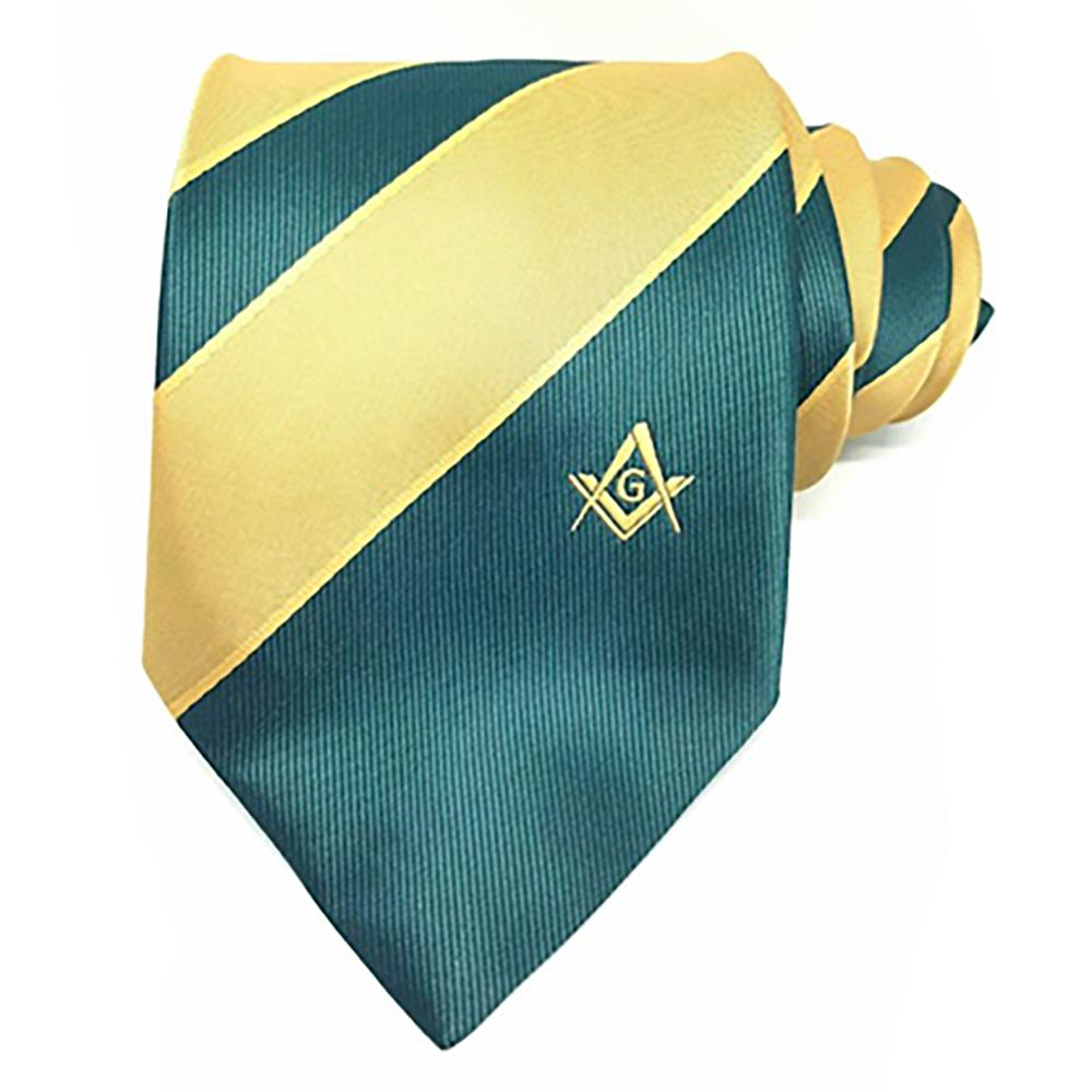 Masonic Masons Green and Yellow Tie with Square Compass & G - Bricks Masons