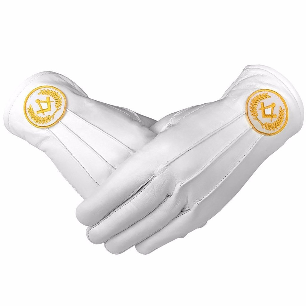 Masonic Regalia White Soft Leather Gloves Square Compass Yellow - Bricks Masons