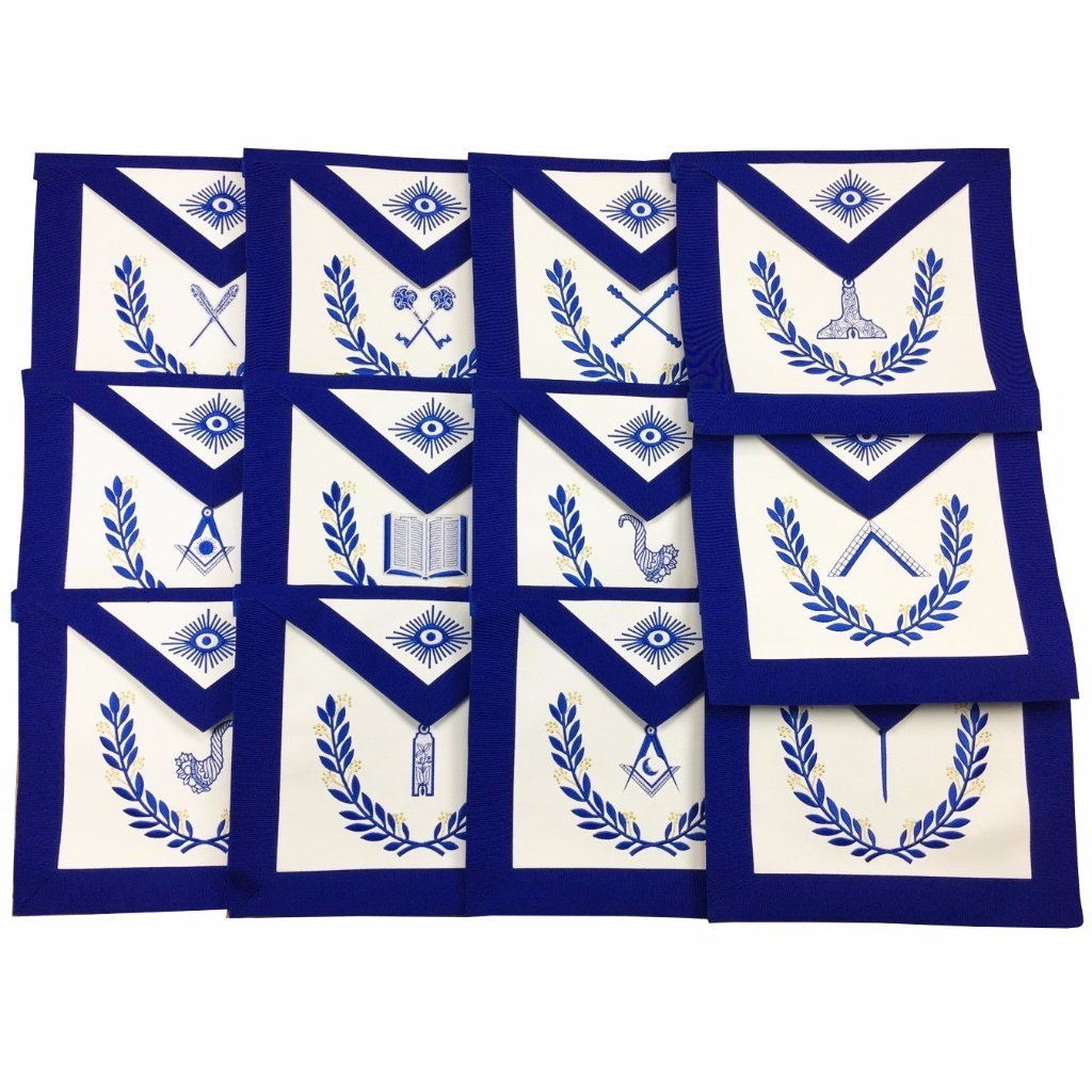 Masonic Blue Lodge Officers Aprons with wreath - Set of 12 Aprons - Bricks Masons