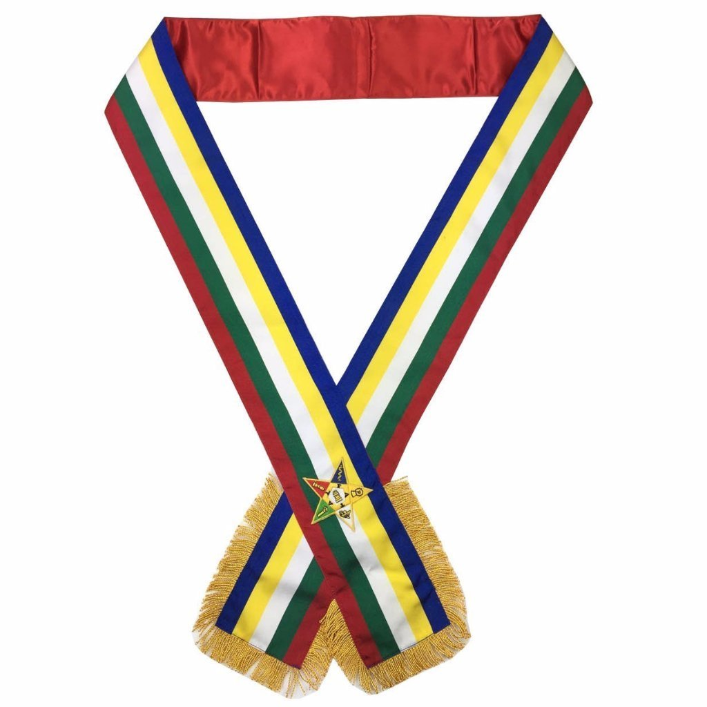 Masonic Order of the Eastern Star OES Sash Five Color sash - Bricks Masons