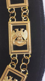 32nd Degree - Wings DOWN Scottish Rite Chain Collar - Gold/Silver on Black + Free Case - Bricks Masons