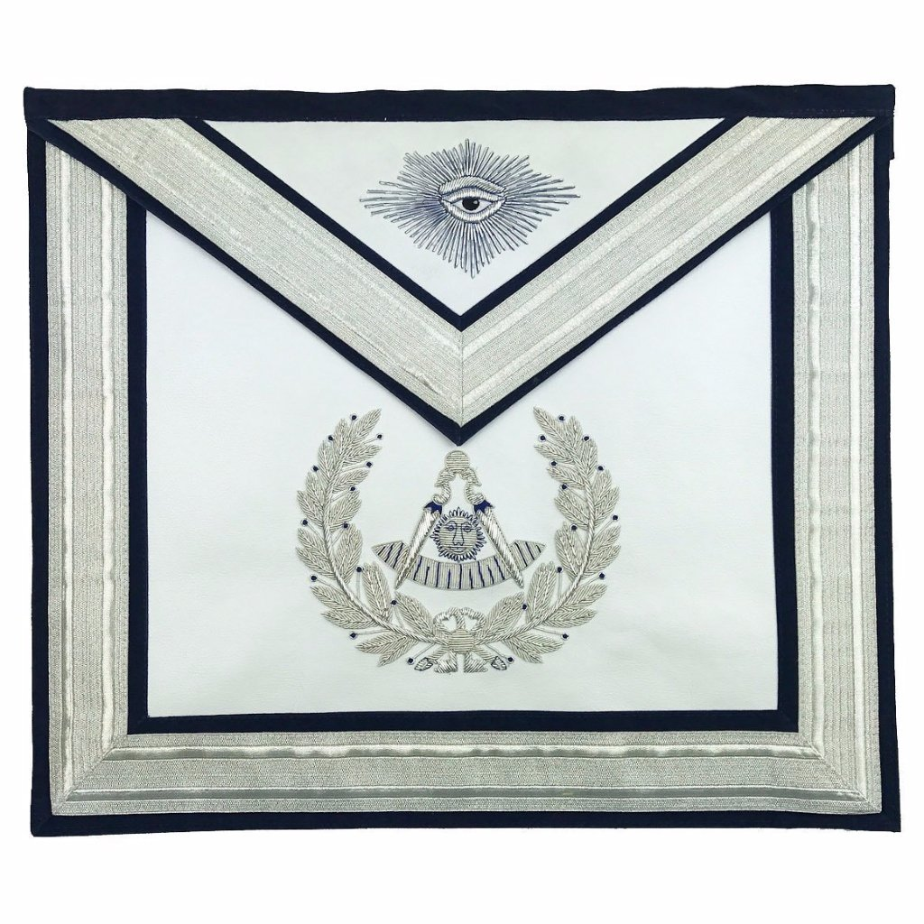 Masonic Past Master Silver Hand Embroidered Freemasons Apron - Bricks Masons