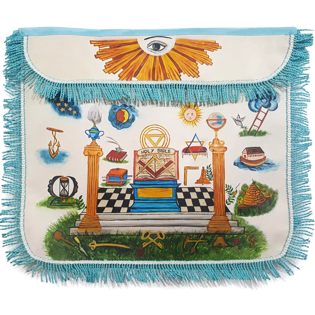 18th Century Inspired Hand-Painted Colorful Apron