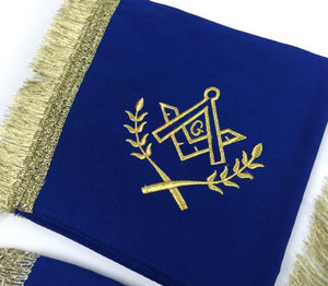 Master Mason Cardura Apron, Collar gauntlets Set with Fringe Blue - Bricks Masons